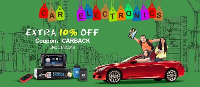 UP TO 65% OFF+Extra 10% OFF Car Electronics,Coupon:CARBACK,Expires:Aug.31@TOMTOP.com