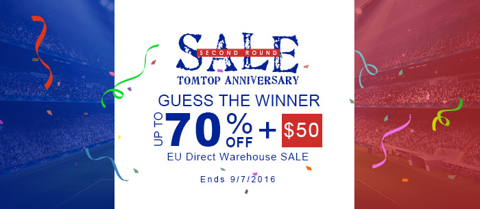 Up to 70% OFF Extra $50 OFF EU Direct Warehouse Sale,Expires:Sep.7@TOMTOP.com