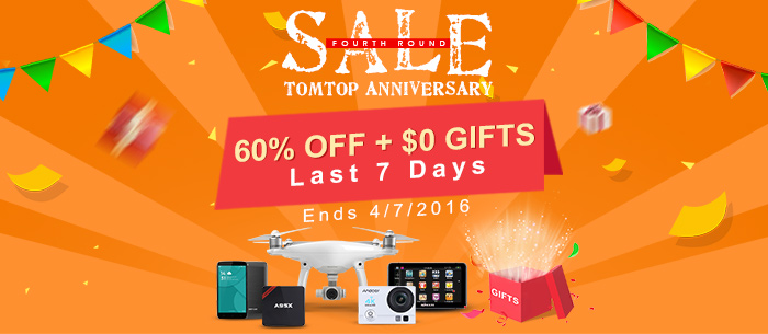 Tomtop Anniversary Sale: Up to 60% OFF + Free Gifts! Expires:Jul.4@TOMTOP.com