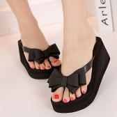 Ladies Summer Platform Flip Flops Thong Wedge Beach Sandals Bowknot Shoes