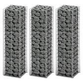 Gabion Set Gabion Wall Galvanized Wire 25 x 25 x 100 cm 3 pcs