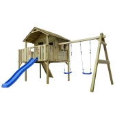 Wooden Playhouse Set with Ladder, Slide and Swings 480 x 440 x 294 cm