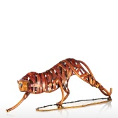 Metal Weaving Leopard Tooarts Iron Sculpture Home Decoration Crafts Animal Sculpture