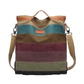 Fashion Canvas Contrast Stripe Grab Handle Women's Handbag Tote
