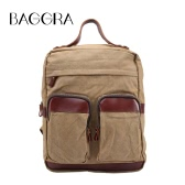 Vintage Women Men Canvas Backpack Leather Handbag Travel School Bag Unisex Preppy Style Large Capacity