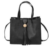 New Fashion Women Handbag Crossbody Bag Soft PU Tassel Solid Color Casual Shoulder Messenger Bag Black/Grey/Brown