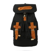 New Fashion Women Men Canvas Backpack Preppy Style Buckle Strap Pockets Students Travel Bag Black/Dark Blue/Blue