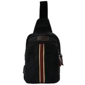 Vintage Canvas Strip Patchwork Bags Zipper Closure Outdoor Bag