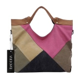 Women Canvas Crossbody Bag Handbag Geometric Contrast Splicing Large Capacity Travel Shoulder Tote Bag Rose