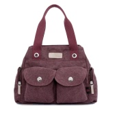 New Fashion Korean Canvas Handbag Functional Pockets Zipper Top Grab Handle Crossbody Shoulder Bag