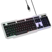 Leilon Ergonomic Colorful Rainbow LED Illuminated Backlit Esport Gaming Qwerty Keyboard USB Wired with 104 Keys