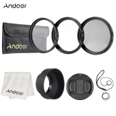 Andoer 49mm Lens Filter Kit(UV+CPL+Star+8) with Lens Accessories