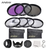 Andoer 55mm UV + CPL + FLD + Close-up Lens Filter Kit with Carry Pouch  Lens Cap Holder Tulip Rubber Hoods Cleaning Cloth