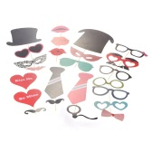 61pcs DIY Colorful Photo Props with Stick for Birthday Wedding Christmas Party Mustache Hat Glasses Lips Creative Decorations