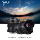 Andoer 8mm F/3.5 170° Ultra Wide HD Fisheye Aspherical Circular Lens for Nikon D7100 D7200 D7000 D300 D300S D5500 D810 D800 D800E D810A D600 D610 D700 D5 D4 D4S D3X D750 DSLR Cameras--Full Frame Camera Compatible