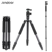 Andoer Foldable Portable Carbon Fiber Tripod 15KG Maximum Loading Unipod Monopod with 36mm Ball Head 28mm Max Tube Diameter for Canon Nikon Pentax Sony DSLR Camera