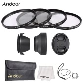 Andoer 67mm Lens Filter Kit with  Lens Cap Holder Tulip Rubber Lens Hoods Cleaning Cloth