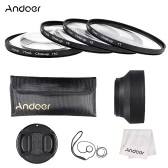 Andoer 77mm Close-up Macro Lens Filter Set(+ 1 +2 +4 +10) with Lens Accessories(Lens Pouch + Collapsible Lens Hood + Lens Cap + Lens Cap Holder + Cleaning Cloth)