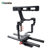 Commlite CS-V5 Aluminum Alloy Video Camera Cage Photography Film Movie Making Kit for Sony A7 A7II A7R A7S A7RII A7SII for Olympus Pentax ILDC Mirroless Cameras to Mount Follow Focus Speedlite