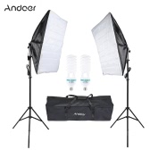 Andoer Photography Studio Cube Umbrella Softbox Light Lighting Tent Kit Photo Video Equipment 2 * 135W Bulb 2 * Tripod Stand 2 * Softbox 1 * Carrying Bag for Portrait Product