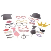 61pcs DIY Colorful Photo Props Mustache Hat Glasses Lips with Stick for Wedding Christmas Party Creative Decorations