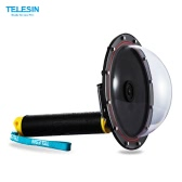 TELESIN Upgrade Advanced Aluminum Alloy Dome Port Accessory for Gopro Hero 4 / 3+/ 3 Diving Camera Sports Action Cam Underwater Photography Waterproof 30M with Floaty Grip