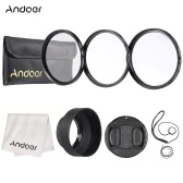 Andoer 62mm Lens Filter Kit(UV+CPL+Star+8) with Lens Accessories