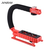 Andoer U/C Shaped Video Bracket Holder Handle Handheld Action Stabilizer Grip for Canon Nikon Sony Gopro SJCAM Xiaomi Yi Camera   Camcorder Mini DV DSLR SLR Smartphone and Flash Light Monitor