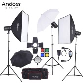 Andoer MD-300 900W (300W * 3) Studio Strobe Flash Light Kit with Light Stand Softbox Lambency Unbrella Barn Door Flash Trigger Carrying Bag for Video Shooting Location and Portrait Photography