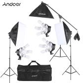 Andoer Studio Photo Video Softbox Lighting Kit Photo Equipment(15 * 45W Bulb / 3 * 5in1 Bulb Socket / 3 * Softbox / 3 * Light Stand / 1 * Cantilever Stick / 1 * Carrying Bag