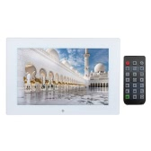 """10"""" Tempered Glass LED HD Wide Digital Picture Photo Frame Screen Slideshow Scroll Subtitle Music Video Player with Remote Control 1280*800 High Resolution Gift Present"""