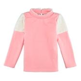 New Girls Kids Blouse Splice Pearl Button Long Sleeves Warm Casual Children Pullover Top Sweatshirt White/Pink/Dark Blue