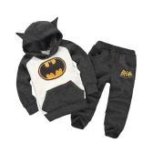 Cute Batman Cartoon Print Ears Hoodie with Pants Boys