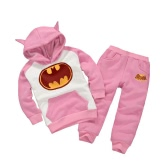 Cute Batman Cartoon Print Ears Hoodie with Pants Boys