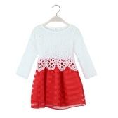 Sweet Kids Princess Crochet Lace Long Sleeve Striped Tulle Children Girls