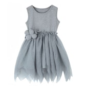 Fashion Kids Lace Mesh Floral Sleeveless Tulle Tutu Skirt Children Girls