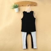 Fashion Kids Baby Girls Two-Piece Set Vest Sleeveless T-Shirt Splicing Contrast Color Elastic Waist Trousers Outfits Black
