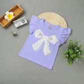 Lovely 3D Rose Sequins Bow Short Butterfly Sleeve Baby Girl
