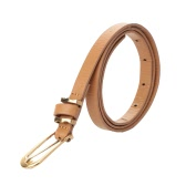 New Fashion Women Skinny Waist Belt Thin Leather Buckle Waistband Waist Strap Black/Camel