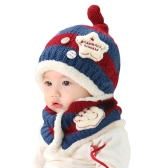 Cute Knitted Contrast Color Warm Hat Scarf Two-Piece Set for Baby Boy and Girl