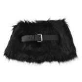 Women Winter Faux Fur Scarf Collar Adjustable Belt Closure Fluffy Vintage Elegant Soft Neckerchief Scarves