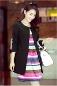Trendy Women Medium-long Blazer Slim Outerwear Long Sleeve Overcoat Black