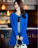 Trendy Women Medium-long Blazer Slim Outerwear Long Sleeve Overcoat Royal Blue