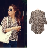 Fashion Women Shirt Leopard Print Chiffon Blouse 3/4 Sleeve V-Neck Loose Tops Brown