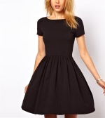 New Casual Women Jersey Dress Solid Design Short Sleeves Slim Fit Sweet One-piece Black