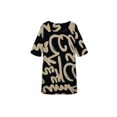 Fashion Women Dress Letter Print Crew Neck Half Sleeve Mini Dress With Scarf Black