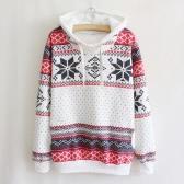 Fashion Women Hoodie Snowflake Print Long Sleeve Pullover Christmas Sweatshirt Sportwear