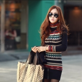 New Korean Fashion Women T-shirt Retro Print Turtle Neck Long Sleeve Thickened Basic Shirt Tops