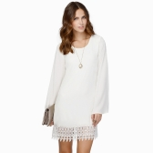 Fashion Women Chiffon Shift Dress Crochet Lace Hem Long Sleeve Mini Dress Black/White