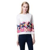 New Fashion Women Sweatshirt Contrast Geometric Pattern Print Zipper Round Neck Casual Pullover